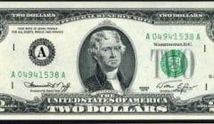 банкнота 2 доллара США